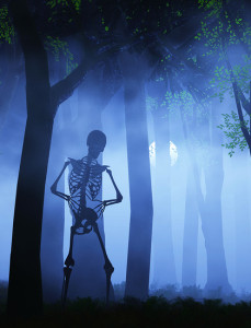 spooky skeleton in blue trees