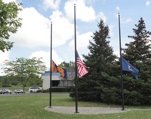 Flags at half-staff on September 11, 2015 at Pelco headquarters in Cazenovia, NY