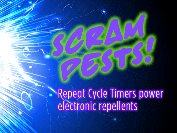 Pest repellents use sound, spray, scent…and Repeat Cycle timers
