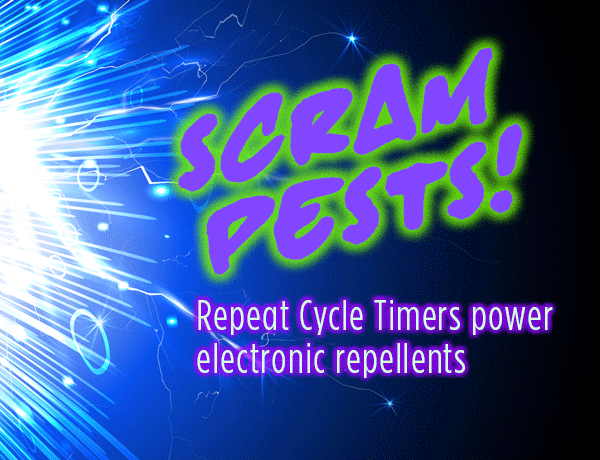 Pest repellents use sound, spray, scent...and Repeat Cycle timers