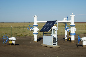Solar panel in gas field